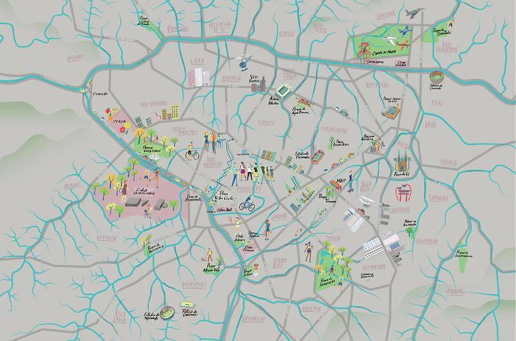 Ilustração de rios e nascentes de São Paulo